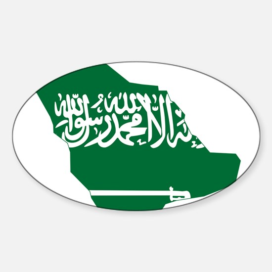 Saudi Arabia Flag and Map Sticker (Oval)