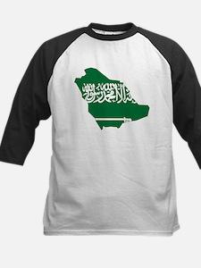 Saudi Arabia Flag and Map Kids Baseball Jersey
