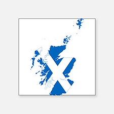 "Scotland Flag and Map Square Sticker 3"" x 3"""