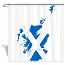 Scotland Flag and Map Shower Curtain