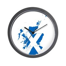 Scotland Flag and Map Wall Clock