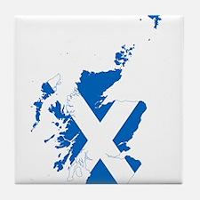 Scotland Flag and Map Tile Coaster