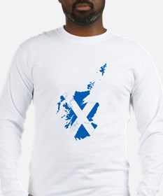 Scotland Flag and Map Long Sleeve T-Shirt