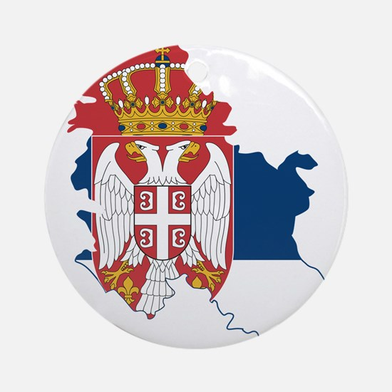 Serbia Civil Ensign Flag and Map Ornament (Round)