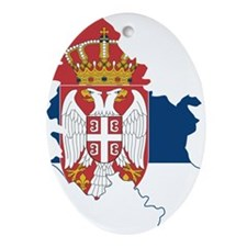 Serbia Civil Ensign Flag and Map Ornament (Oval)