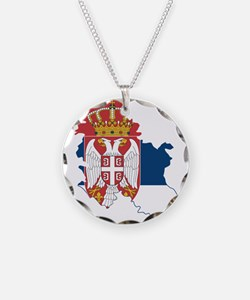 Serbia Civil Ensign Flag and Map Necklace