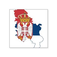 Serbia Civil Ensign Flag and Map Square Sticker 3""