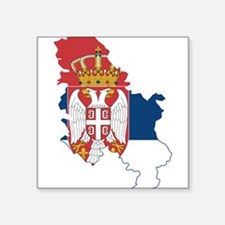 """Serbia Civil Ensign Flag and Map Square Sticker 3"""""""