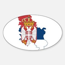 Serbia Civil Ensign Flag and Map Sticker (Oval)