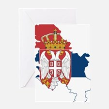 Serbia Civil Ensign Flag and Map Greeting Card