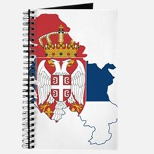 Serbia Civil Ensign Flag and Map Journal