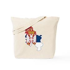 Serbia Civil Ensign Flag and Map Tote Bag