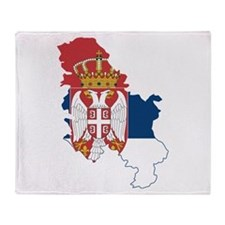Serbia Civil Ensign Flag and Map Throw Blanket