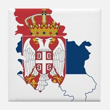 Serbia Civil Ensign Flag and Map Tile Coaster