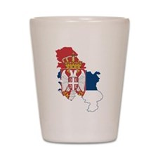Serbia Civil Ensign Flag and Map Shot Glass