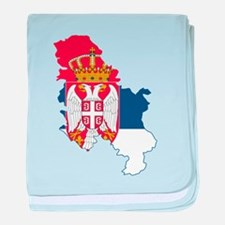 Serbia Civil Ensign Flag and Map baby blanket