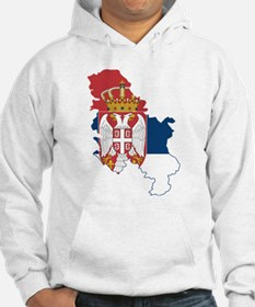 Serbia Civil Ensign Flag and Map Hoodie