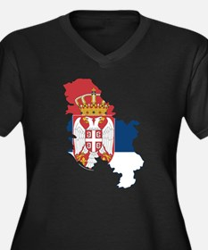 Serbia Civil Ensign Flag and Map Women's Plus Size