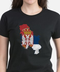 Serbia Civil Ensign Flag and Map Tee