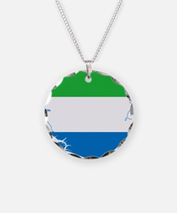 Sierra Leone Flag and Map Necklace
