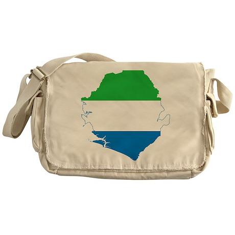 Sierra Leone Flag and Map Messenger Bag