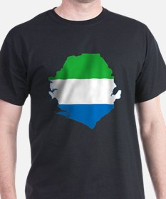 Sierra Leone Flag and Map T-Shirt