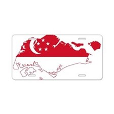 Singapore Flag and Map Aluminum License Plate