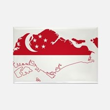Singapore Flag and Map Rectangle Magnet