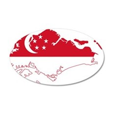 Singapore Flag and Map Wall Decal