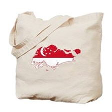 Singapore Flag and Map Tote Bag