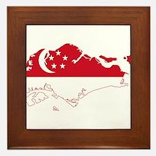 Singapore Flag and Map Framed Tile