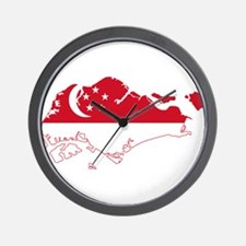 Singapore Flag and Map Wall Clock