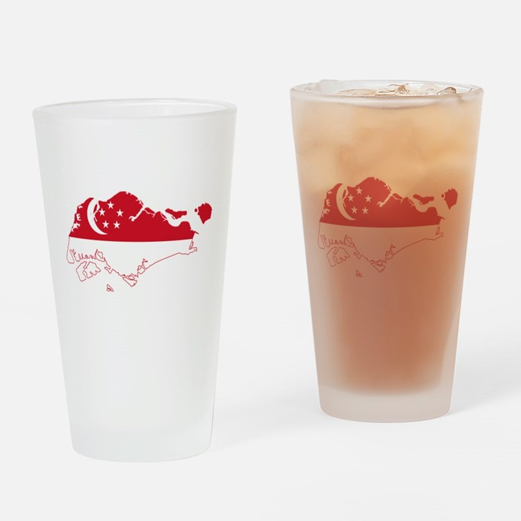 Singapore Flag and Map Drinking Glass