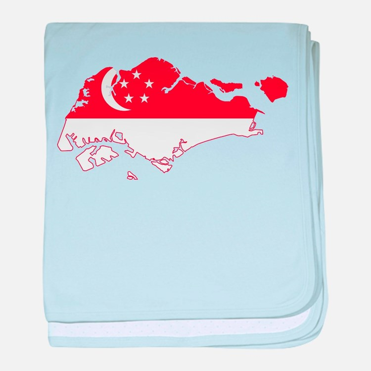 Singapore Flag and Map baby blanket