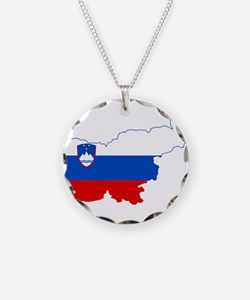 Slovenia Naval Jack Flag and Map Necklace