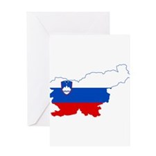 Slovenia Naval Jack Flag and Map Greeting Card