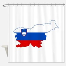Slovenia Naval Jack Flag and Map Shower Curtain