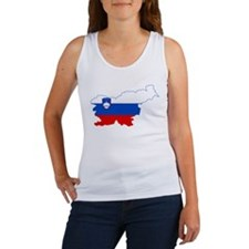 Slovenia Naval Jack Flag and Map Women's Tank Top