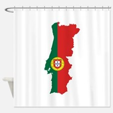 Flag Map of Portugal Shower Curtain