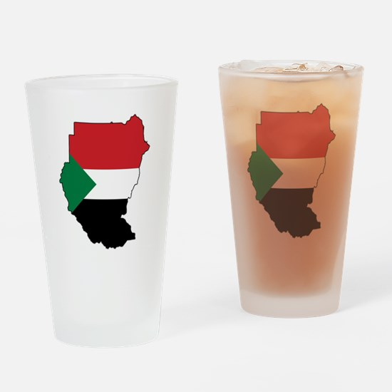 Flag Map of Sudan Drinking Glass