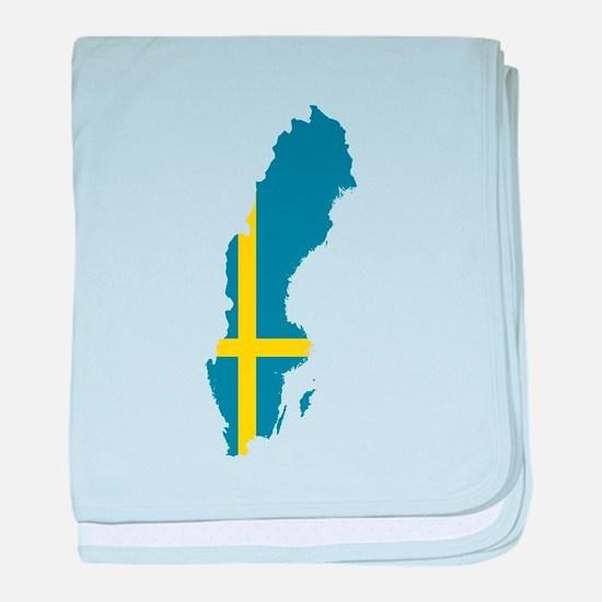 Flag Map of Sweden baby blanket