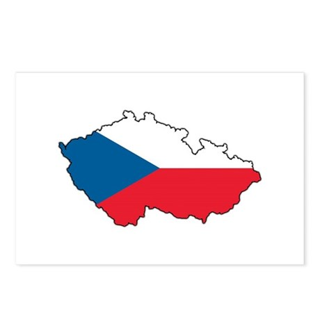 Flag Map of the Czech Republic Postcards (Package