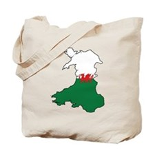 Flag Map of Wales Tote Bag