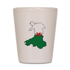 Flag Map of Wales Shot Glass