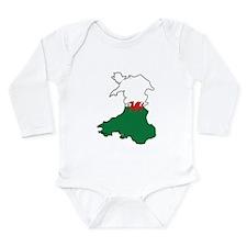 Flag Map of Wales Long Sleeve Infant Bodysuit