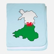 Flag Map of Wales baby blanket