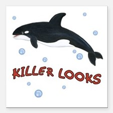 "Killer Looks - Orca Whale Square Car Magnet 3"" x 3"