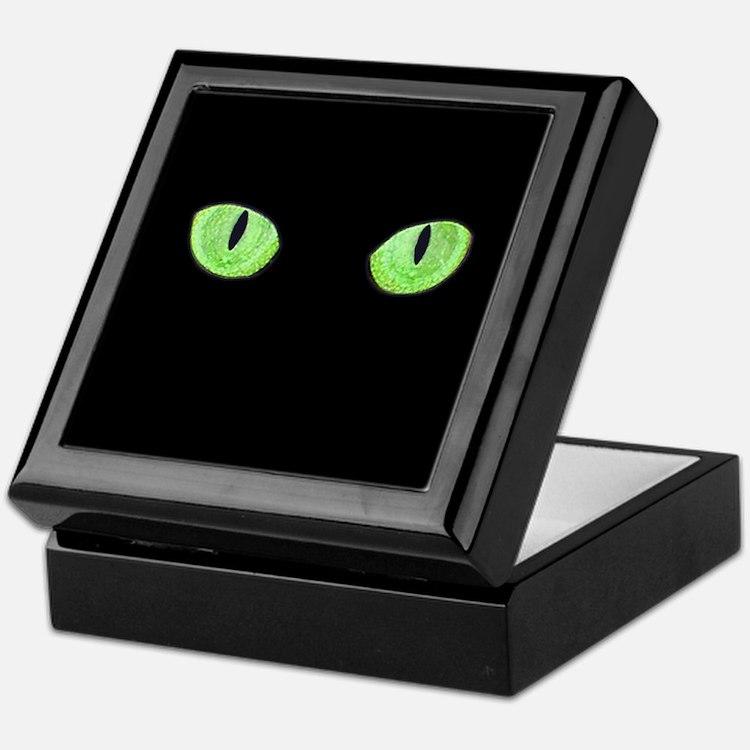 Green Cat Eyes Keepsake Box