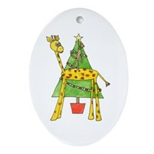 Christmas Tree and Animals. Ornament (Oval)