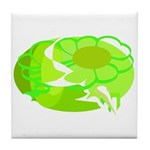Green Abstract Clouds Tile Coaster
